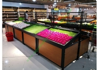 1 layer  Metal Wooden Display Rack For Grocery Shop , 2 Years Warranty