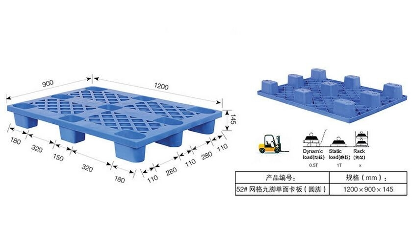 Packing Transport Lightweight Heavy Duty Plastic Pallets for Fruits / Vegetables Storage HDPE Pallet