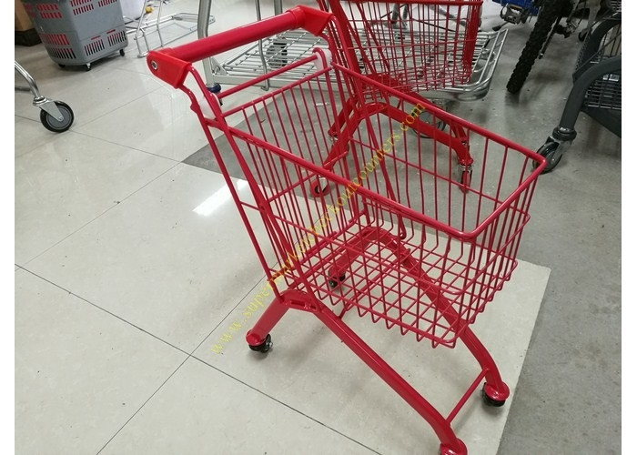 Kids Model Supermarket Shopping Cart / Red Color Shopping Trolley For Kids