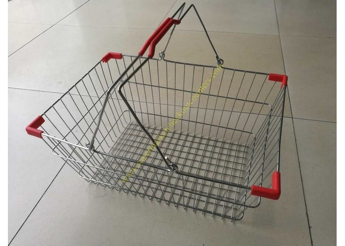 Double Handle Wire Mesh Cosmetic Shopping Hand Baskets / Stacking Chrome Silver Basket