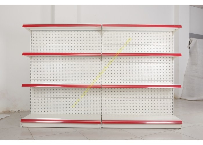 Single - side Store / Supermarket Display Shelving with 4 Layers Perforated Back Panel