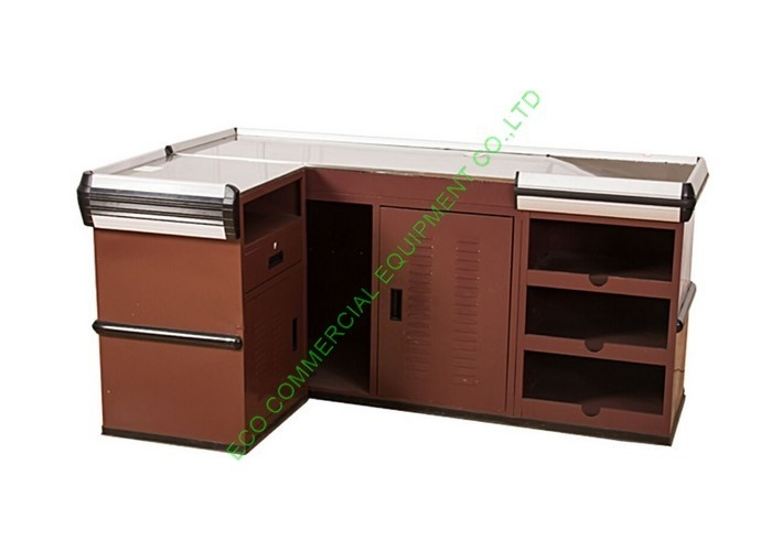 Stainless Steel Shop Money Cashier Checkout Counter Desk With Coffee Colour