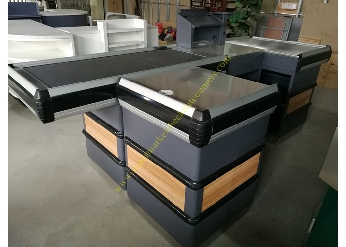 Automatic Cashier Checkout Counter With Conveyor Belt / Walmart Cash Counter
